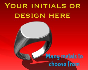 Signet ring with your initials or design - FREE Shipping US and Canada only