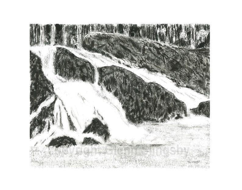 Original Ink Drawing  Rocky Falls image 0