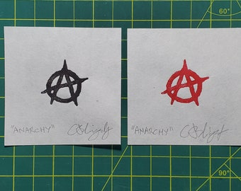 """Original Relief Print - """"ANARCHY"""" - Your Choice, Red or Black - FREE Shipping"""