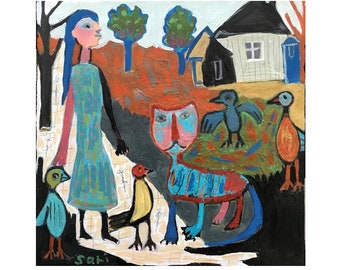 """CAT ORIGINAL PAINTING / Abstract Landscape  Birds HOuse Trees / Figurative Art  Square Mixed Media 8""""x8"""" Canvas #1542"""