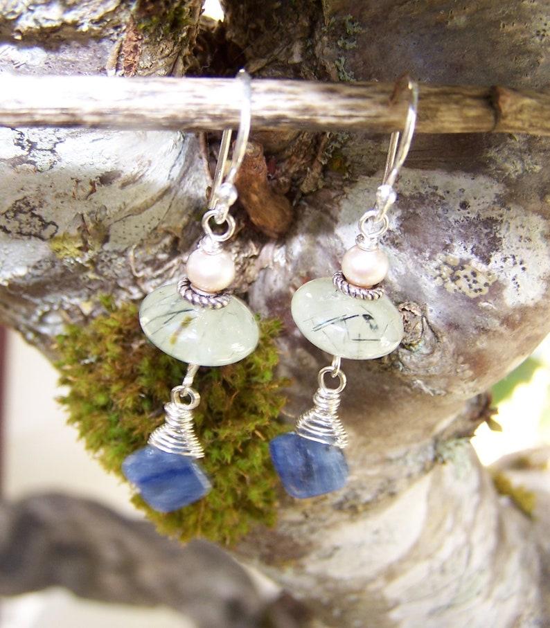 Kyanite sterling silver wrap earrings Pearl Prehnite