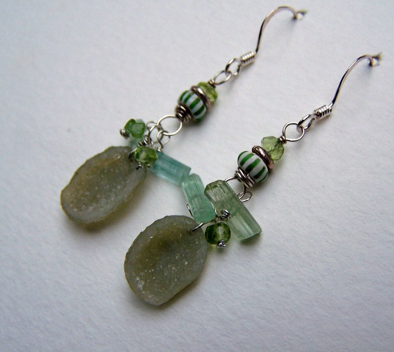 Chevron trade bead Green and Blue Tourmaline stick Peridot rondelle sterling silver earwire Tabasco Geode
