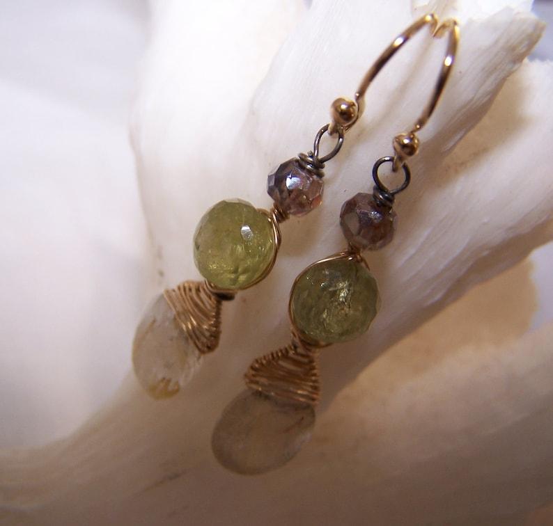hook earwire 14k gold fill wrap Faceted Rutilated Quartz briolette,Green Garnet Onion,Andalucite earrings