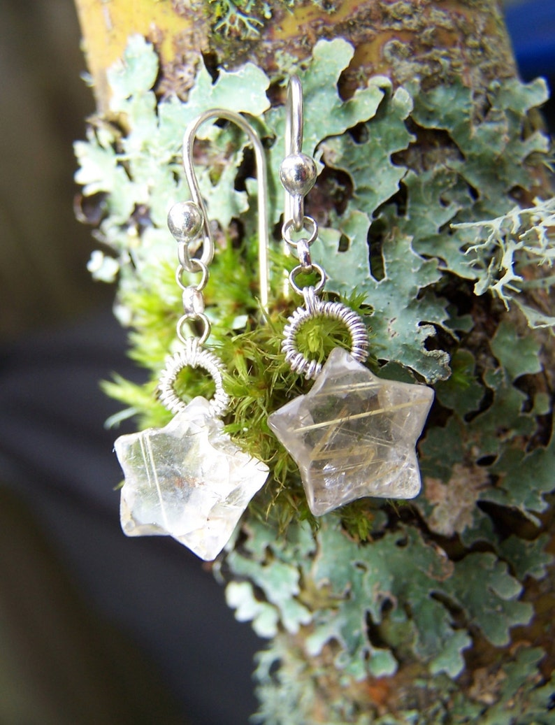 sterling silver French earwire earrings Gold Rutilated Quartz Star