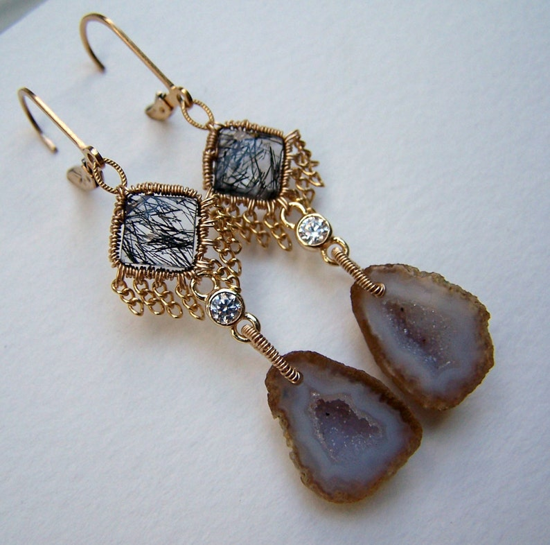 tourminalated quartz with chain fringe  leverback earwire Tabasco Geode Druzy 14k gold fill coil wrap tiny crystal link