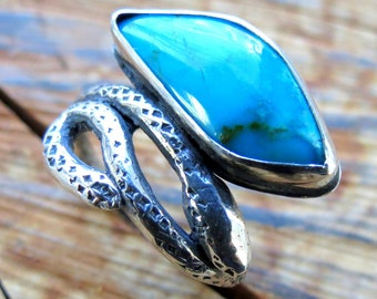 Natural Turquoise Boho Snake Ring Bohemian Ring Blue Turquoise Statement Ring in Sterling Silver One of a Kind Lost Wax Cast Recycled Silver