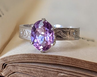Big Oval Purple Amethyst Solitaire Statement Ring Right Hand Ring Art Nouveau Style with Floral Band in Sterling Silver One of a Kind