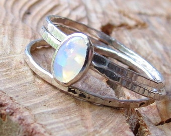 Opal Stacking Ring Set Oval Synthetic Opal Ring Bright Color Play Eco Friendly Opal Ring October Birthstone Ring Minimalist Ring Dainty Ring