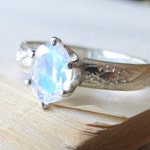 Oval Faceted Moonstone Engagement Ring in Sterling Silver,  Rainbow Moonstone Vintage Style Alternative Engagement Ring