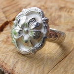 Custom Flower Signet Ring with with topaz center