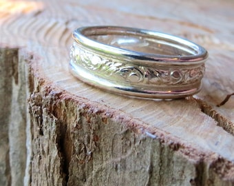 Mens Wedding Band Scroll Leaf Mens Ring Single Wedding Band Unisex Band Matching Thin Band Available Bright Finish Sterling Silver Leaf Band