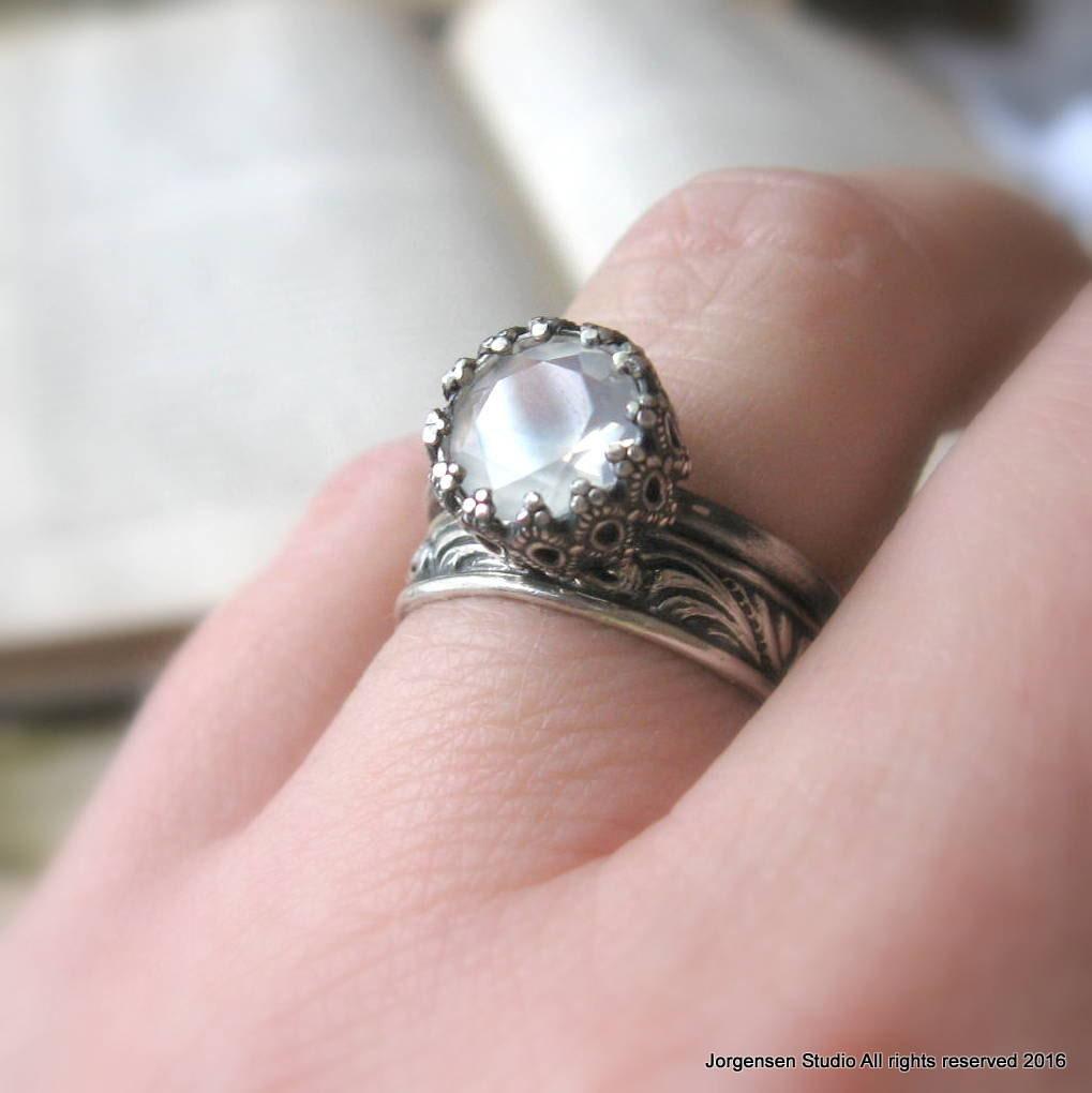 Unique Moonstone Engagement Ring / Black Gothic Promise Ring | Etsy