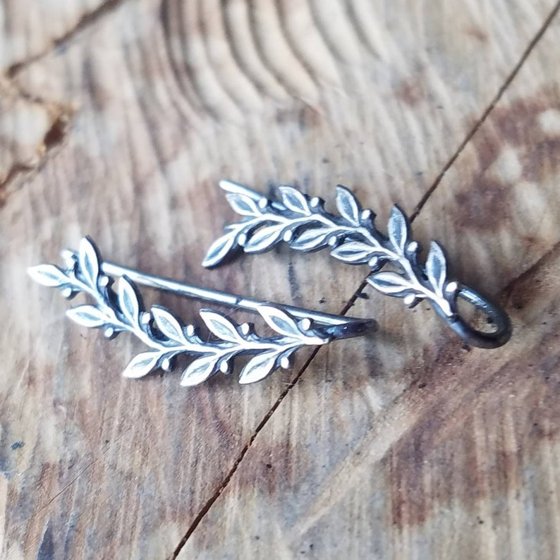 Silver Olive Leaf Ear Climbers in Sterling Vine Ear Crawlers Lightweight Earrings Perfect Girlfriend Gift for Her or Bridesmaid Earrings