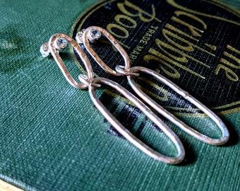 Long Oval Dangle Earrings with White Topaz Gemstone Post Back Hammered Modern Statement Earrings in Sterling Silver Diamond Alternative