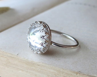 Cocktail Ring Faceted Rose Cut Quartz Crown Statement Ring in Sterling Silver