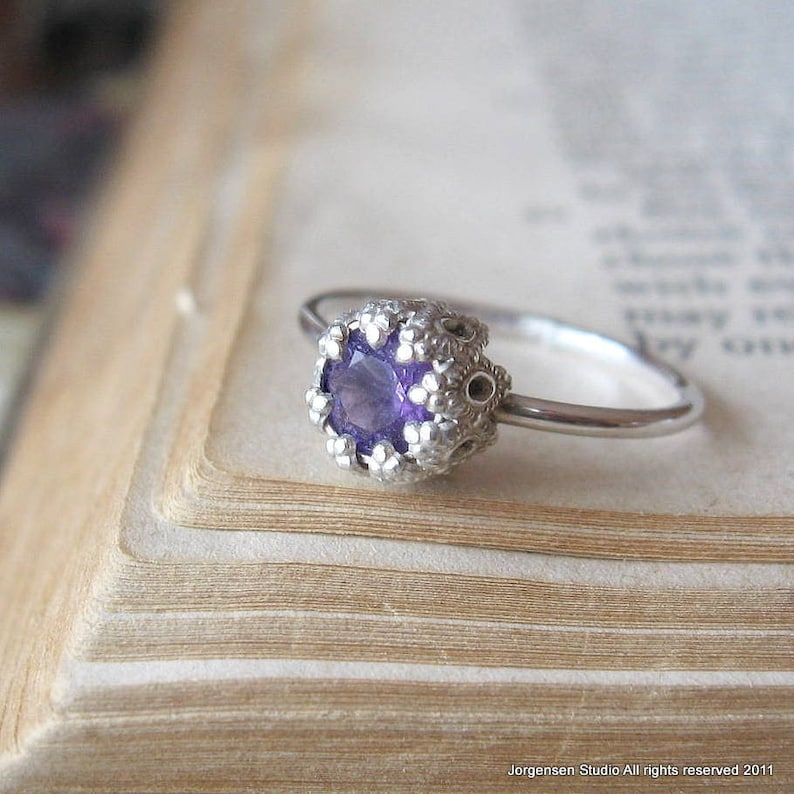 Amethyst Birthstone Ring Cake Ring in Sterling Silver small version Promise Ring or Unique Amethyst Engagement Ring Gemstone Ring