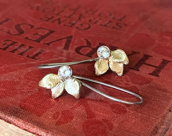 Dainty Leaf Drop Earrings in Brass and Sterling Silver with White Topaz or Garnet Holiday Earrings  Birthstone Earrings  Bridesmaids Gift