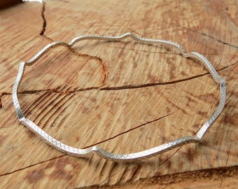 Stackable Bangle in Sterling Silver Patterned Boho Arabesque Shape Bracelets Gift for Her Ready to Ship