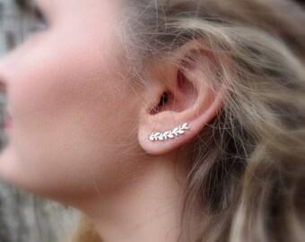 Leaf Ear Climber Earrings Ear Cuff Ear Sweep Earrings Gift for Her Acorn Oak Leaf Earrings Ear Crawler Bridesmaid Earrings Sterling Silver
