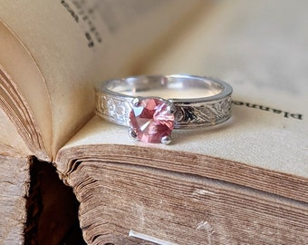 Rare Orange Sunstone Gemstone Ring Solitaire Right Hand or Unusual Engagement Ring in Sterling Silver Unique Vintage Style Ring Coral
