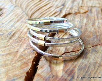 Minimalist Stackable Ring Fidgit Ring in Silver and Gold Hammered Dainty Stack Ring Thin Sterling Bands Spinner Gift for Her Secret Santa