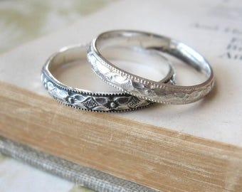 Wedding Band or Stacking Ring in Sterling Silver Diamond pattern Oxidized Pattern Size 7.5 US Ready to ship