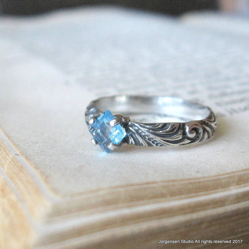 Blue Topaz Princess Cut Gemstone Ring with Swirl Pattern Sterling Silver Band Square Topaz Solitaire Promise Ring Unique Engagement Ring