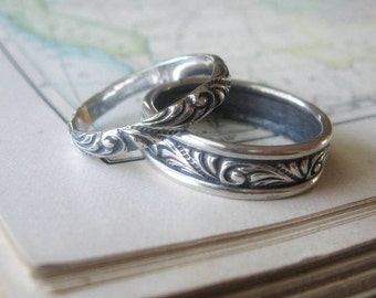 Custom Order with Engraving For T'leah   Matching His and Hers Swirl Wedding Band Set Sterling Silver Wedding Rings