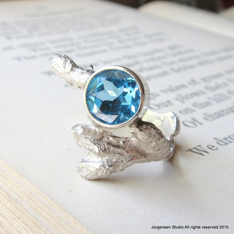 Gemstone Branch Ring with Blue Topaz in Sterling Silver A Statement Nature  Ring Cast from a real tree Twig with Buds One of a kind
