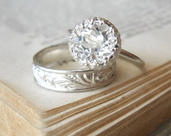 Unique Engagement Ring White Topaz Ring Sterling Silver Large Promise Ring Diamond Alternative Engagement Ring Let them Eat Cake Ring
