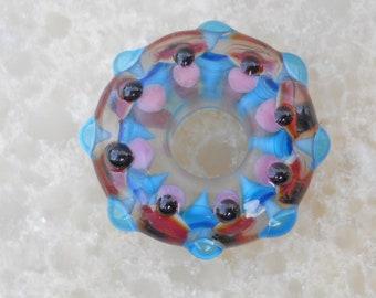 Pink & aqua kaleidoscope lampwork glass bead handmade mandala, artisan glass big hole lamp work focal bead, BHB pendant, jewelry supplies