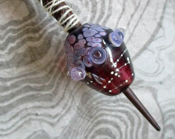 Viking style lampwork glass whorl bead and support spindle, deep red-purple handmade historical style SRA medieval wool spinning