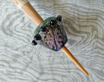 Medieval style bead support spindle, purple & green handmade historical glass whorl, Viking wool spinning, portable spindle