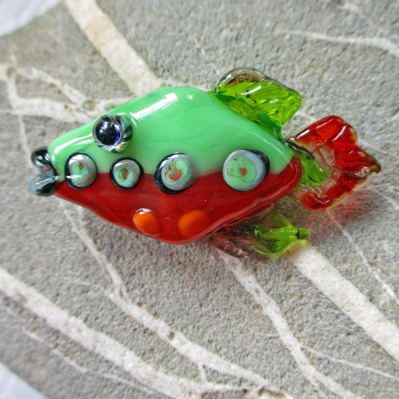 Fish necklace lampwork glass bead pendant orange & green fish image 0