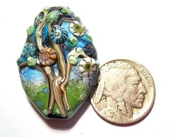 Folk Art Blue & Green tree bead pendant, lampwork glass bead, 'Flower Tree' men's or women's necklace, earthy organic focal glass bead