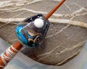 Viking style lampwork glass whorl, landscape glass bead moon & waves support spindle, handmade historical style medieval wool spinning