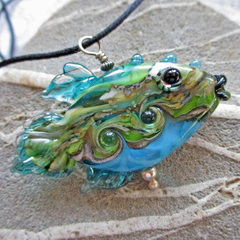 Fish necklace lampwork glass bead pendant aqua & green image 0