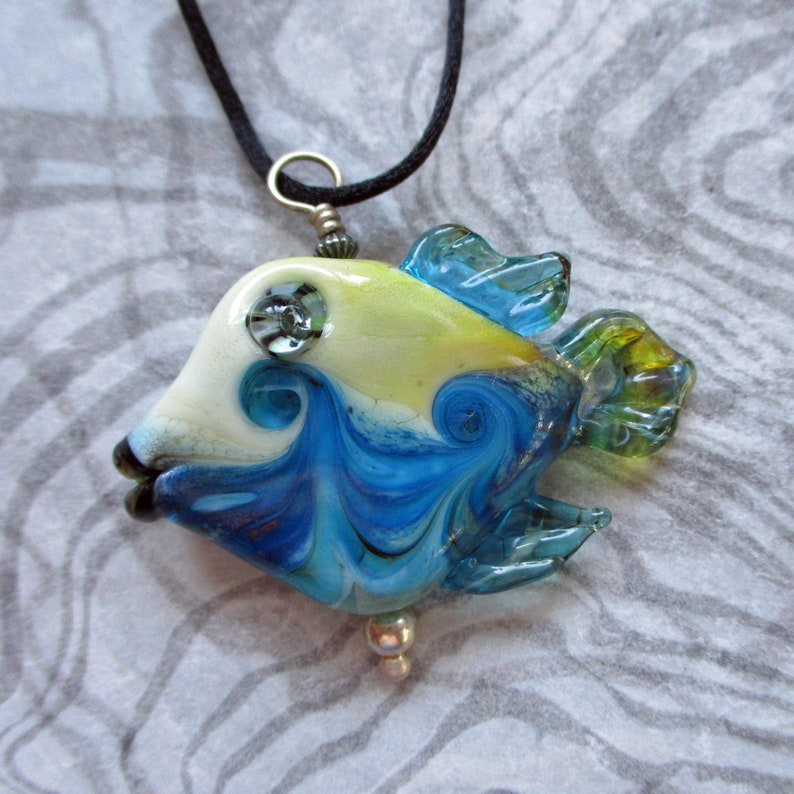 Fish necklace lampwork glass bead pendant aqua & off white image 0
