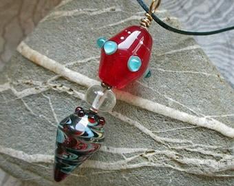 Red & aqua lampwork glass bead pendant, glassbead artisan necklace or sun catcher, handmade glass beads SRA art glass