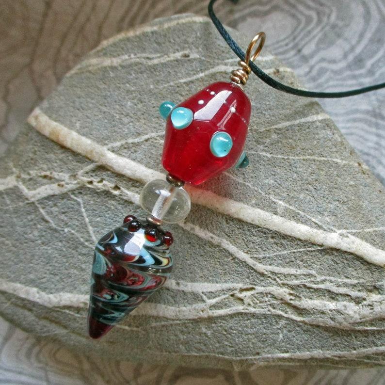 Red & aqua lampwork glass bead pendant glassbead artisan image 0