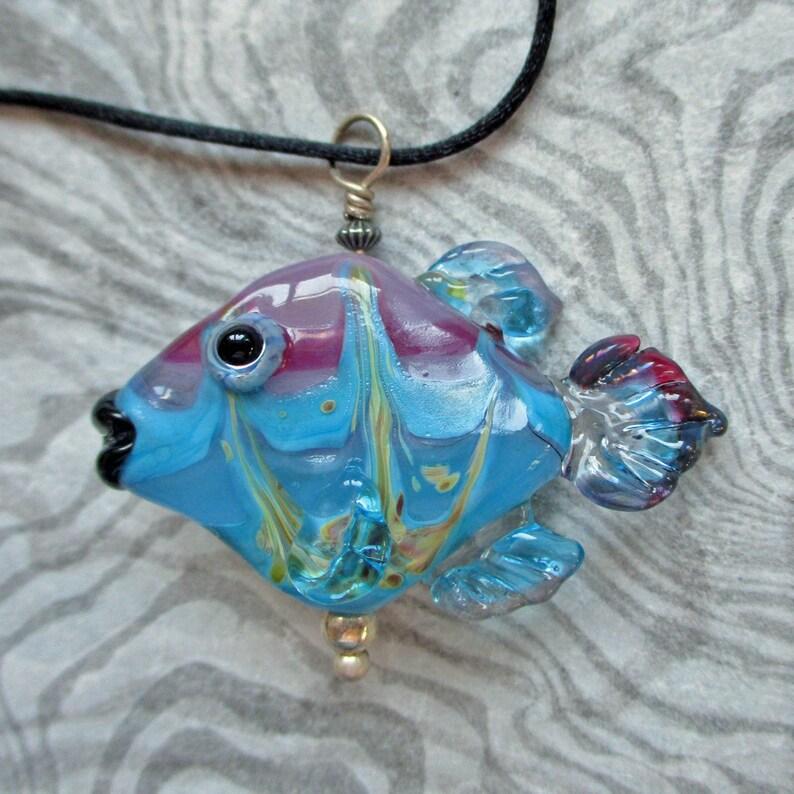 Fish necklace lampwork glass bead pendant blue & pink fish image 0