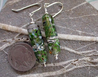 Green glass tube earrings, lampwork glass beads, silver wrapped transparent handmade art jewelry, sterling silver wire SRA art glass