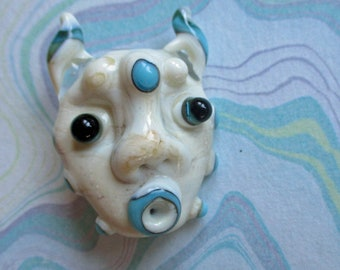 Lampwork glass bead mask necklace pendant, ivory handmade sculptural amulet, horned talisman, face totem focal glassbead, Isinglass Design