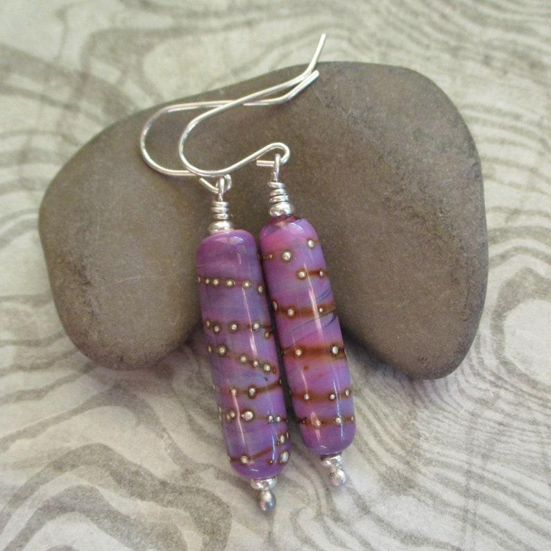 Lampwork glass bead earrings Pink/purple glass tube earrings image 0
