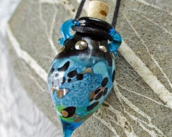Blue lampwork glass vial miniature amphora bottle jewelry, pendant necklace, potion, aromatherapy, cremains glass bead vessel