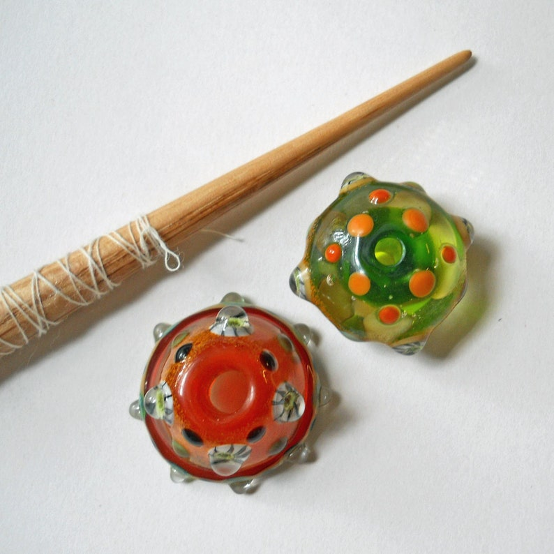 orange /& green handmade historical glass whorl Medieval style bead support spindle bumpy bead Viking light weight wool spinning tool