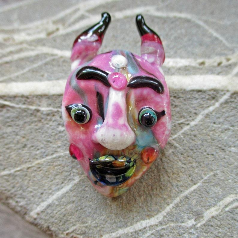 Pink Mask necklace lampwork glass bead pendant handmade image 0