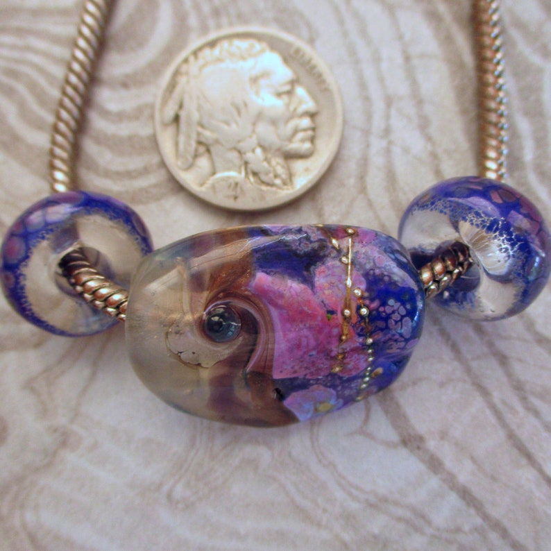 Blue bargain lampwork glass bead necklace set big holed bead image 0