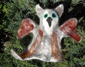 Felted wool owl soft hand puppet, wet felted collectible bird storytelling prop, grey & brown green eyed owl, parent and child toy