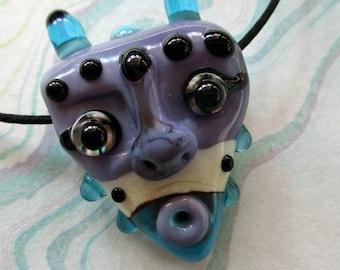 Mask necklace, purple & aqua glass bead pendant, sculptural amulet, lampwork horned talisman, face totem focal glassbead, Isinglass Design
